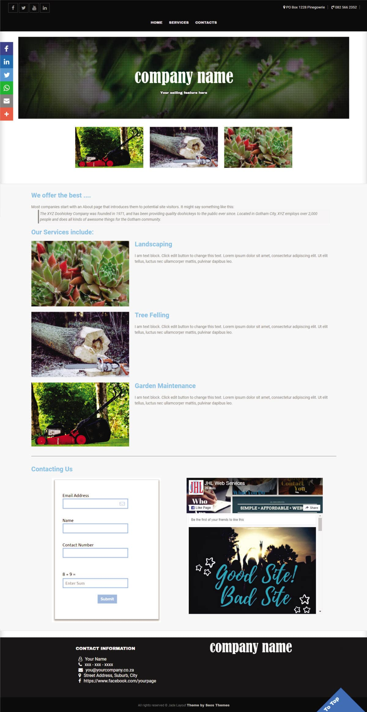 Jade Website Layout - JHL Web Services